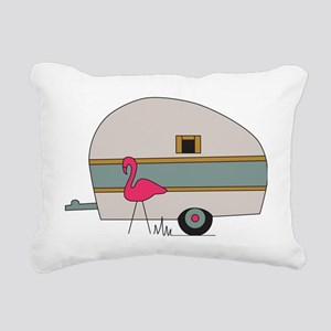 Camper with Flamingo Rectangular Canvas Pillow