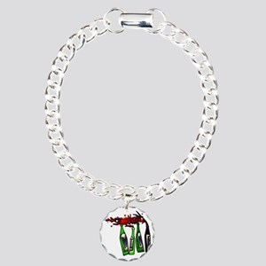 Wine Pouring from Bottle Charm Bracelet, One Charm