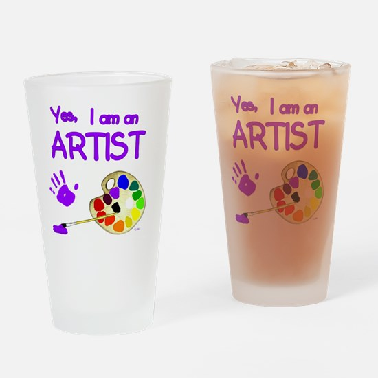 01-yes-im-an-artist-brush-n-palette Drinking Glass