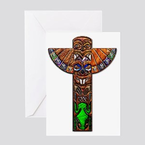 Totem Pole Texture Framed Panel Prin Greeting Card
