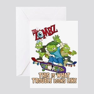 2-zombz_all_trouble_v2 Greeting Card