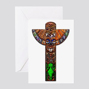 Totem Pole Texture Art Large Poster  Greeting Card