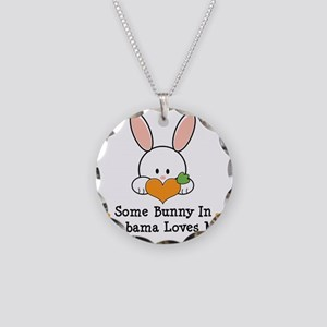 2-AlabamaSomeBunnyLovesMe Necklace Circle Charm