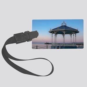 Bandstand with lighthouse on eas Large Luggage Tag