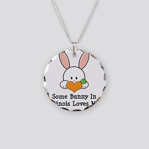 IllinoisSomeBunnyLovesMe Necklace Circle Charm