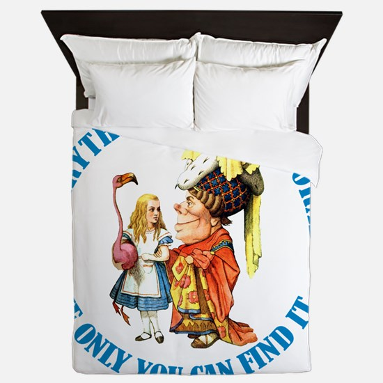 ALICE_everythings got a moral_BLUE cop Queen Duvet