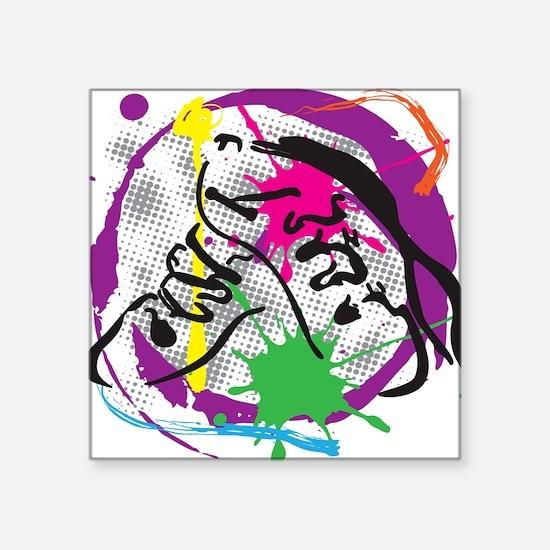 "colorful grunge dance Square Sticker 3"" x 3"""