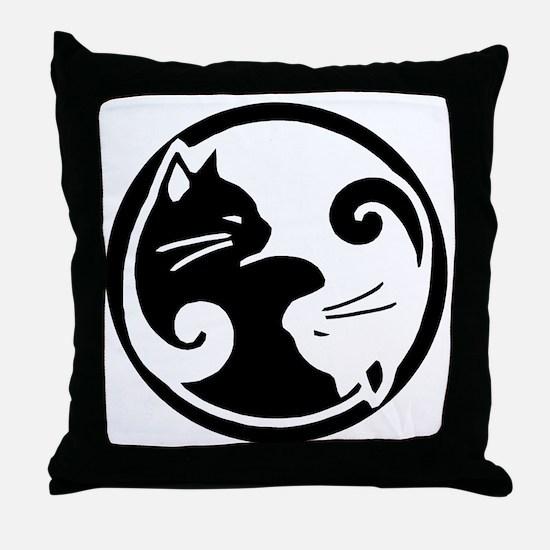 yin-yang-cat Throw Pillow
