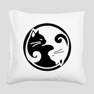 yin-yang-cat Square Canvas Pillow
