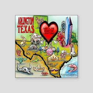 "Arlington TEXAS Map Tee Square Sticker 3"" x 3"""