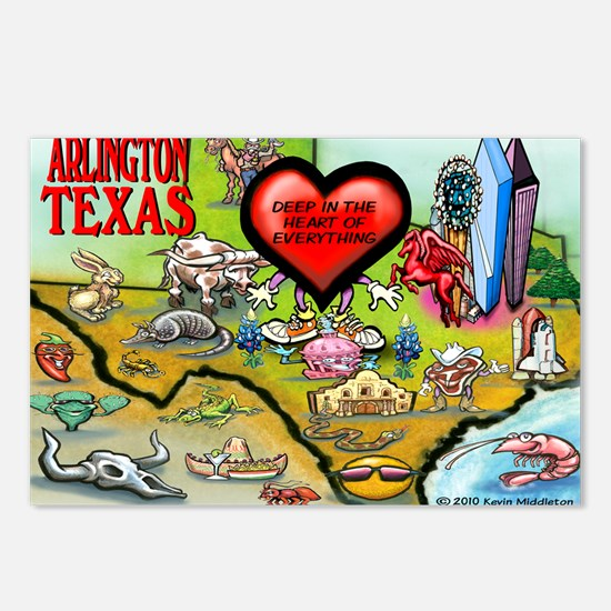 Arlington TEXAS Map Card Postcards (Package of 8)