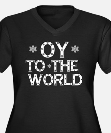 OY to the world Women's Plus Size V-Neck Dark T-Sh