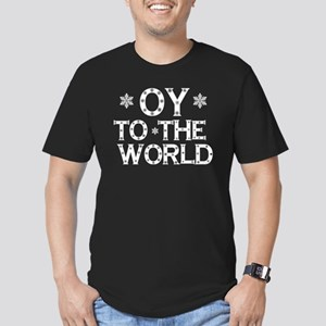 OY to the world Men's Fitted T-Shirt (dark)
