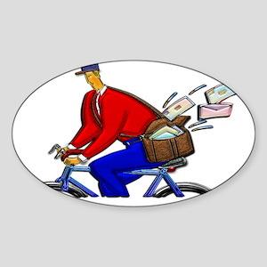 Bike Messenger Wearing Red White an Sticker (Oval)