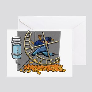 Business man on hamster wheel Small  Greeting Card