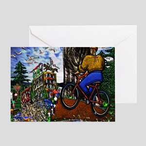 Nature Bike Ride to Work Small Poste Greeting Card
