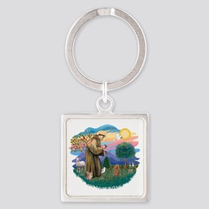 Poodle (Toy apricot) - St Francis2 Square Keychain