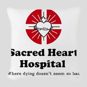 Sacred heart slogan Woven Throw Pillow
