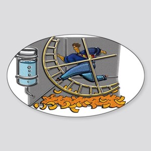 Business man on hamster wheel Large Sticker (Oval)