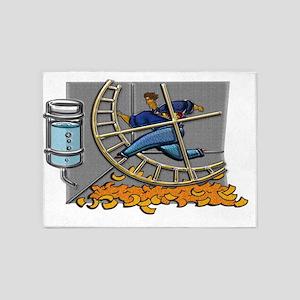 Business man on hamster wheel Large 5'x7'Area Rug