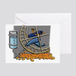 Business man on hamster wheel note c Greeting Card