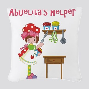 abuelitas helper cooking Woven Throw Pillow
