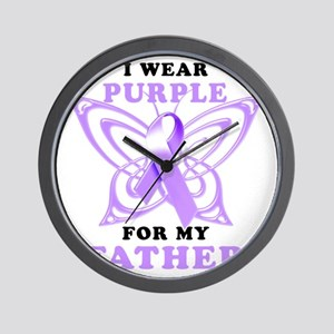 I Wear Purple for my Father Wall Clock