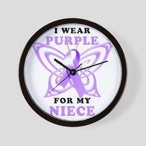 I Wear Purple for my Niece Wall Clock