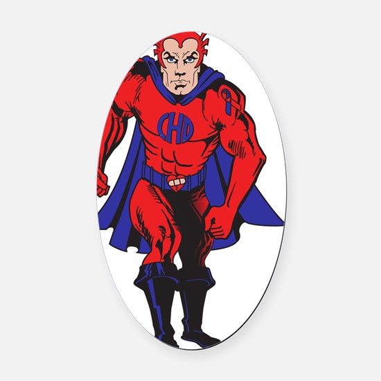 2-hero color Oval Car Magnet