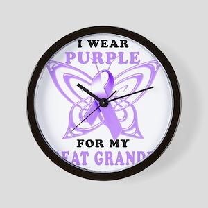 I Wear Purple for my Great Grandpa Wall Clock