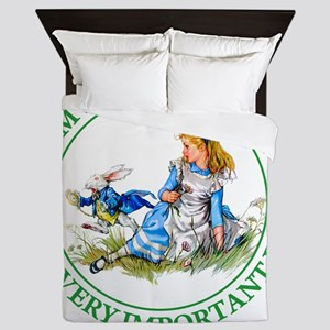 Alice Im late_MARAJA_GREEN copy Queen Duvet