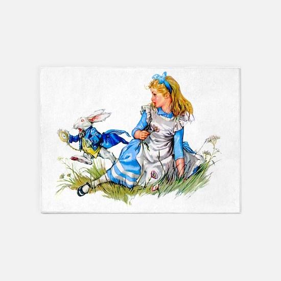 Alice_BLUE RABBIT copy 5'x7'Area Rug