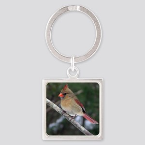 Female Cardinal Square Keychain
