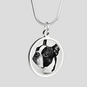 Boston Terrier Silver Round Necklace