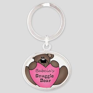 snuggle bear Oval Keychain