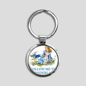 ALICE_BLUE_FOLLOW ME_BLUEx copy Round Keychain