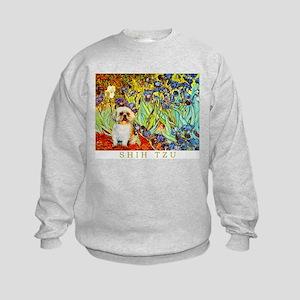 Shih Tzu Fine Art Van Gogh Iris Kids Sweatshirt