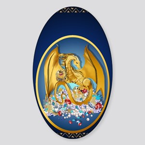Big Gold Dragon and Globe Oval_jour Sticker (Oval)