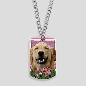 PinkTulips_Golden_Retriever Dog Tags