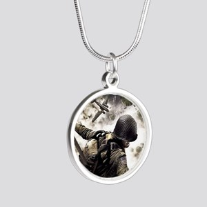 2-Airborne.moh.mousepad Silver Round Necklace