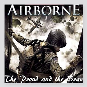 "2-Airborne.moh.mousepad Square Car Magnet 3"" x 3"""