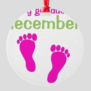 pinkfeet_babygirlduein_december_gre Round Ornament