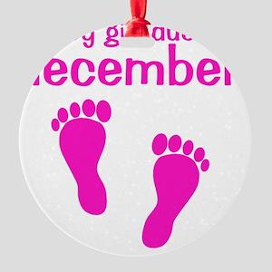 pinkfeet_babygirlduein_december Round Ornament