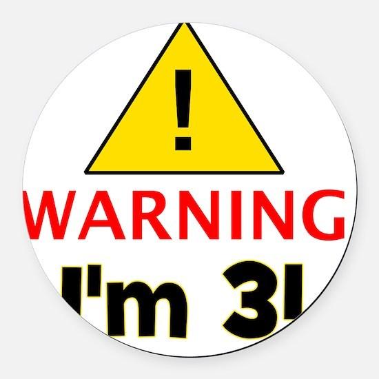 warningim3 Round Car Magnet