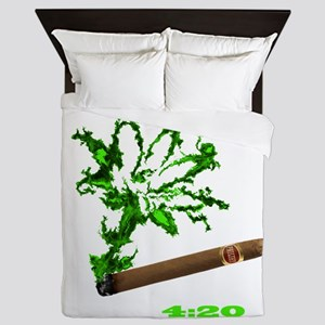 Smoke-Leaf with lettering Queen Duvet