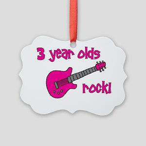 3yearoldsrock_pinkguitar Picture Ornament