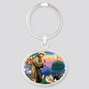 The Saint - Pomeranians (three) Oval Keychain