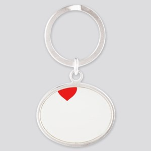 heart my 3rd grade class (i love my  Oval Keychain