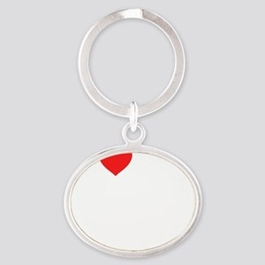2-heart my 5th grade class (i love m Oval Keychain