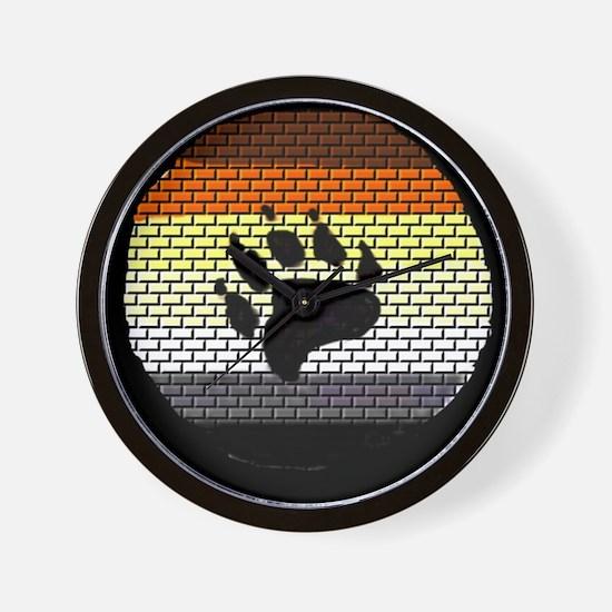 BEAR PRIDE COLORED BRICK WALL2 Wall Clock